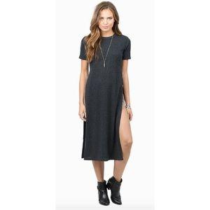 Tobi Grey Ribbed Dress with high slit sz Medium